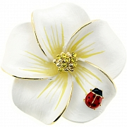 White Hawaiian Plumeria With Red Ladybug Flower Pin Brooch/Pendant(Chain Not Included)