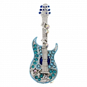 Light Blue Guitar With Music Note Pin With Swarovski Crystal Pin Brooch