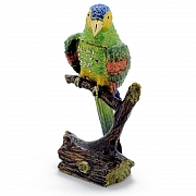 Green Parrot On Branch Trinket Box with Swarovski Crystal
