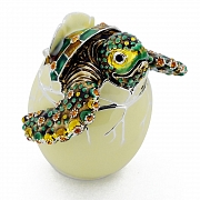 Baby Sea Turtle Hatching From Egg Trinket Box with Swarovski Crystal