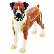 Boxer Dog Trinket Box with Swarovski Crystal