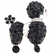 Jet Poodle Pin With Swarovski Crystal Pin Brooch