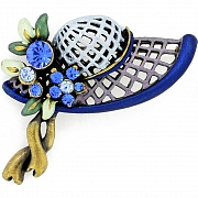 Navy And Light Blue Hat Pin With Swarovski Crystal Pin Brooch