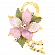 Pink Poinsettia Swarovski Crystal Flower Brooch Pin and Pendant