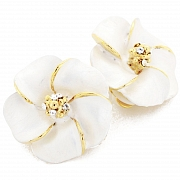 White Hawaiian Hibiscus With Swarovski Crystal Flower Earrings