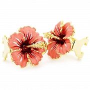 Peach Hawaiian Hibiscus Flower Earrings