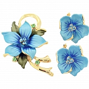 Light Blue Hawaiian Hibiscus With Swarovski Crystal Flower Pin Brooch And Earrings Gift Set