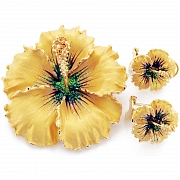 Gold Hawaiian Hibiscus With Swarovski Crystal Flower Pin Brooch And Earrings Gift Set