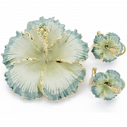 Light Green And Green Hawaiian Hibiscus With Swarovski Crystal Flower Pin Brooch And Earrings Gift Set