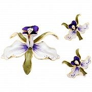 White Orchid With Purple Spots Swarovski Crystal Flower Pin Brooch And Earrings Gift Set