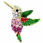 Multicolor Crystal Hummingbird Lapel Pin