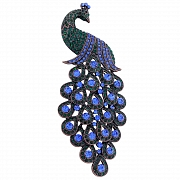 Large Emerald Sapphire Peacock Pin Vintage Style Austrian Crystal Bird Pin Brooch
