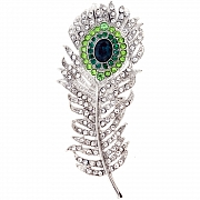 Emerald Peacock Feather Crystal Brooch Pin