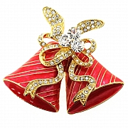 Red Christmas Bell Christmas Bow Pin Austrian Crystal Christmas Pin Brooch