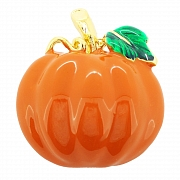 Enamel Pumpkin With Green Leaf Halloween Pin Brooch And Pendant (Chain Not Included)