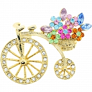 Penny-farthing With Flower Basket Pin Swarovski Crystal Bicycle Pin Brooch
