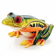 Red Eyes Green Frog Trinket Box Swarovski Crystal Trinket Box