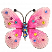 Hot Pink Enamel Butterfly Corsage Brooch And Pendant(Chain Not Included)