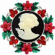 Multicolor Wreath Cameo Crystal Pin Brooch And Pendant