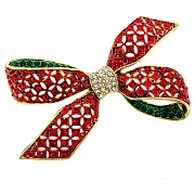 Christmas Bow Corsage Brooch
