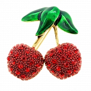Red Cherry Fruit Corsage Brooch