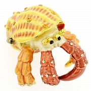 Yellow And Brown Hermit Crab Trinket Box With Swarovski Crystal