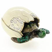 Newborn Turtle And Shell Trinket Box With Swarovski Crystal