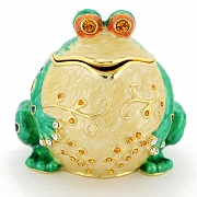 Whimsical Frog Trinket Box With Swarovski Crystal