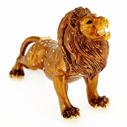 Golden Brown Lion King Trinket Box With Swarovski Crystal