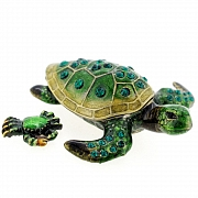 Sea Turtle And Crab Trinket Box With Swarovski Crystal