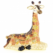 Light Brown Giraffe Trinket Box With Swarovski Crystal