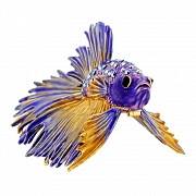 Purple Crowntail Betta Fish Trinket Box With Swarovski Crystal