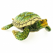 Green Sea Turtle Trinket Box With Swarovski Crystal