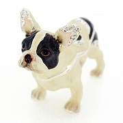 Black And White French Bulldog Trinket Box With Swarovski Crystal