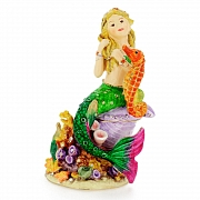 Multicolor Mermaid And Seahorse Trinket Box With Swarovski Crystal