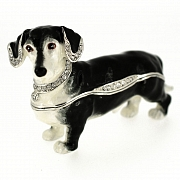 Black And White Dachshund Trinket Box with Swarovski Crystal