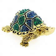 Green And Blue Turtle Trinket Box With Swarovski Crystal