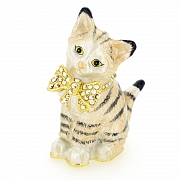 Kitty Cat Trinket Box With Swarovski Crystal