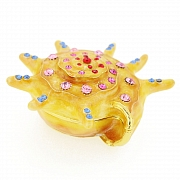 Yellow Sea Snail Trinket Box With Swarovski Crystal