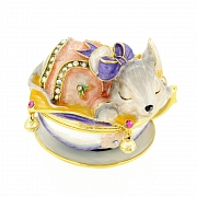 Mouse Sleeping In Teacup Trinket Box With Swarovski Crystal